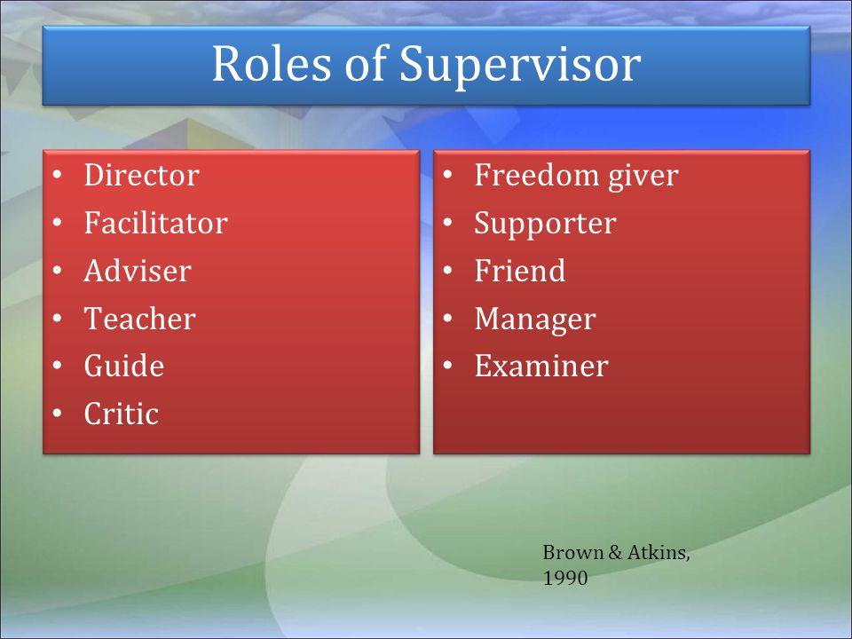 Roles of Supervisor Director Facilitator Adviser Teacher Guide Critic Director Facilitator Adviser Teacher Guide Critic Freedom giver Supporter Friend