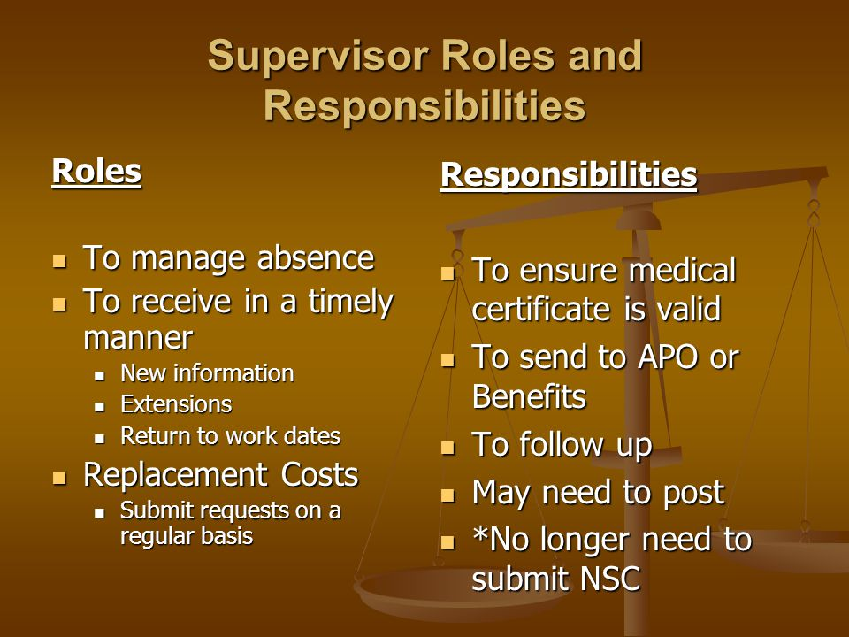Supervisor Roles and Responsibilities Roles To manage absence To manage absence To receive in a timely manner To receive in a timely manner New inform