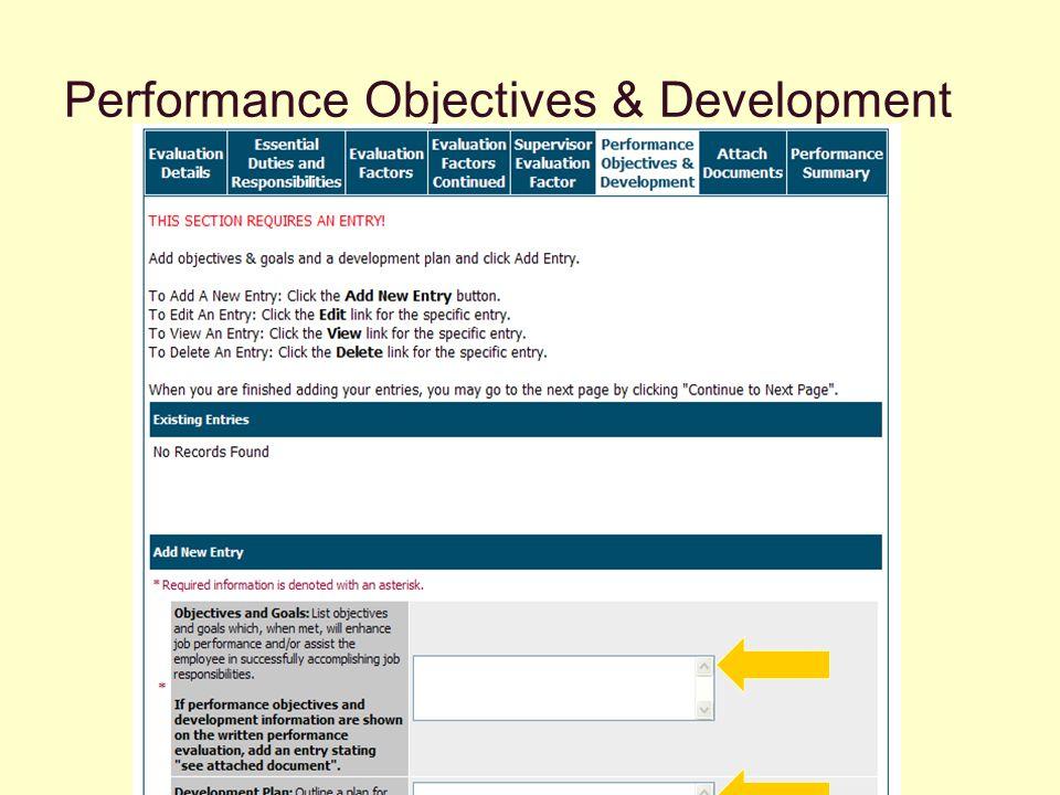 Performance Objectives & Development