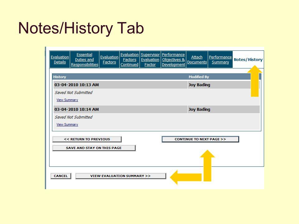 Notes/History Tab