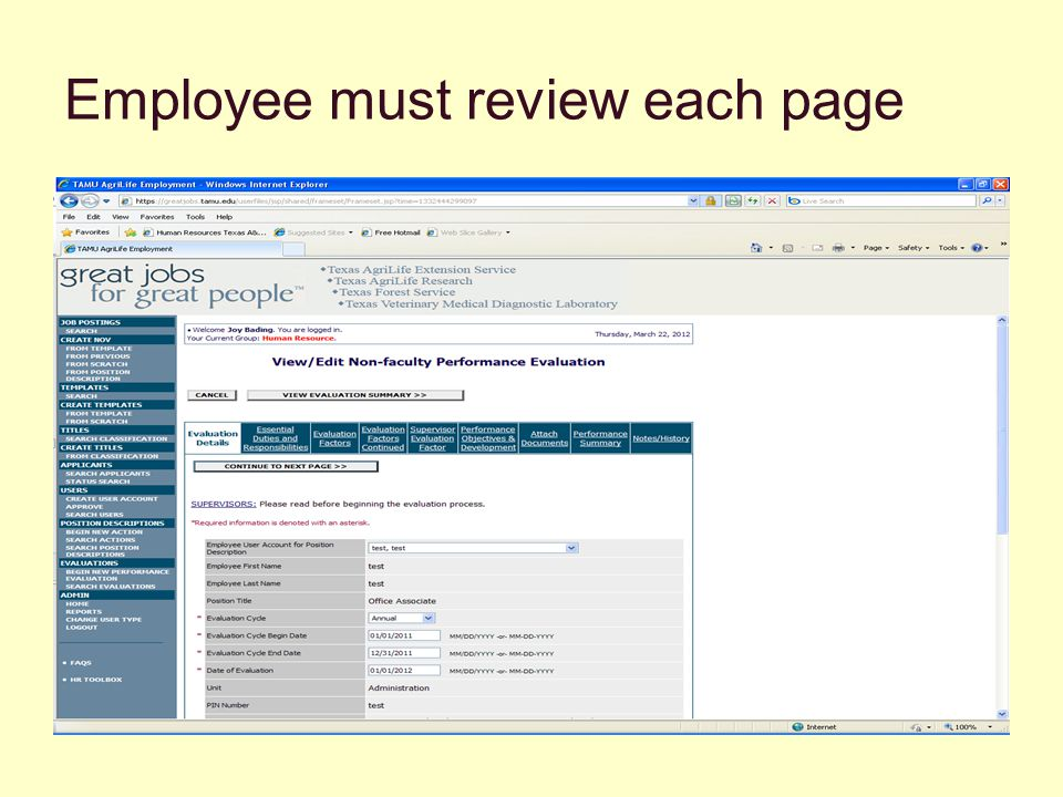 Employee must review each page