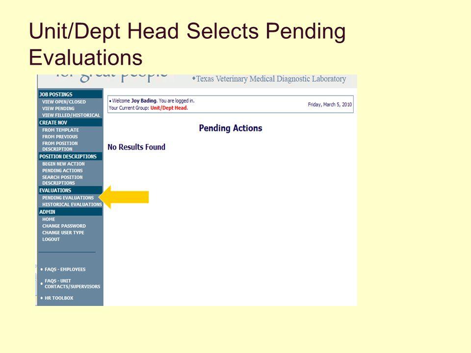 Unit/Dept Head Selects Pending Evaluations