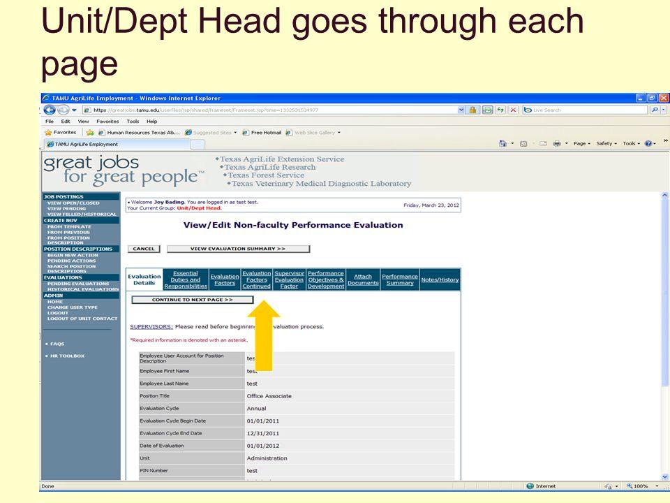 Unit/Dept Head goes through each page