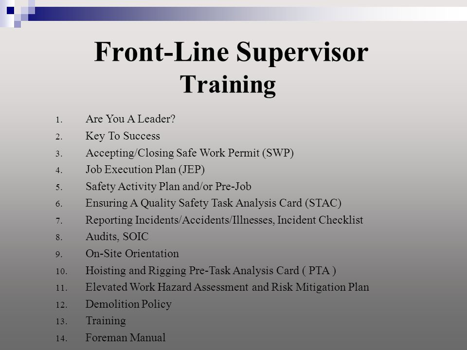 Front-Line Supervisor Training 1. Are You A Leader.