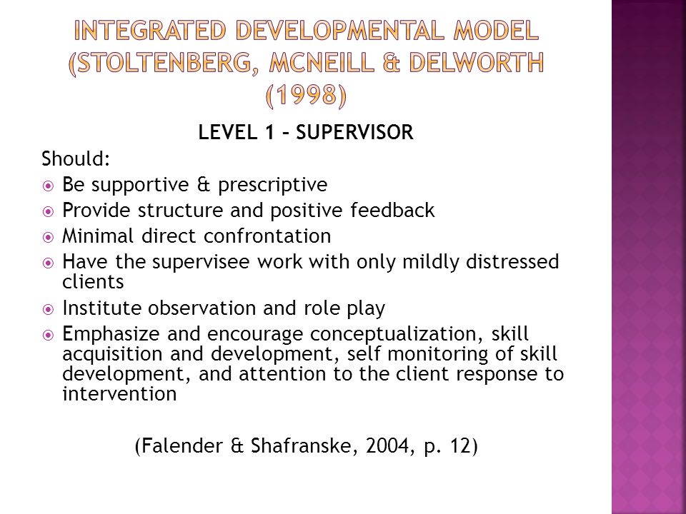 LEVEL 1 – SUPERVISOR Should:  Be supportive & prescriptive  Provide structure and positive feedback  Minimal direct confrontation  Have the supervisee work with only mildly distressed clients  Institute observation and role play  Emphasize and encourage conceptualization, skill acquisition and development, self monitoring of skill development, and attention to the client response to intervention (Falender & Shafranske, 2004, p.