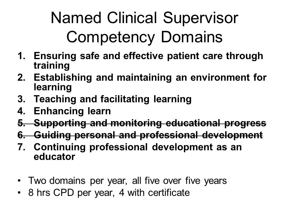 Named Clinical Supervisor Competency Domains 1.Ensuring safe and effective patient care through training 2.Establishing and maintaining an environment