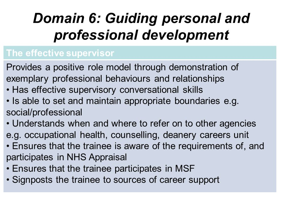Domain 6: Guiding personal and professional development The effective supervisor Provides a positive role model through demonstration of exemplary pro