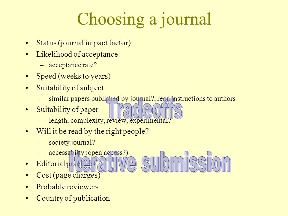 Choosing a journal Status (journal impact factor) Likelihood of acceptance –acceptance rate.