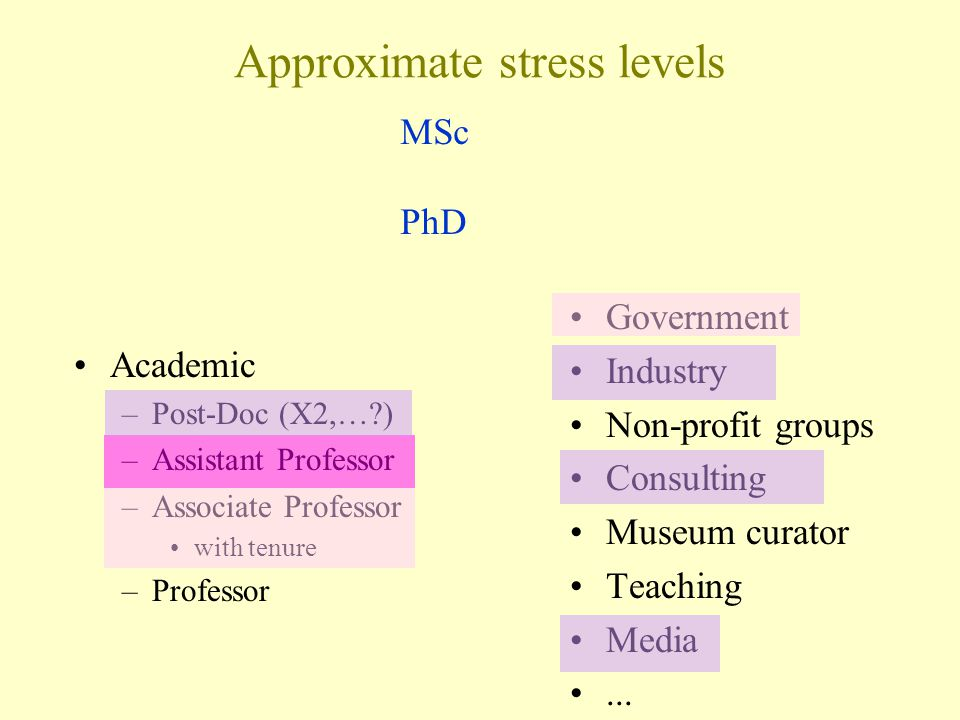 Approximate stress levels Academic –Post-Doc (X2,… ) –Assistant Professor –Associate Professor with tenure –Professor Government Industry Non-profit groups Consulting Museum curator Teaching Media...