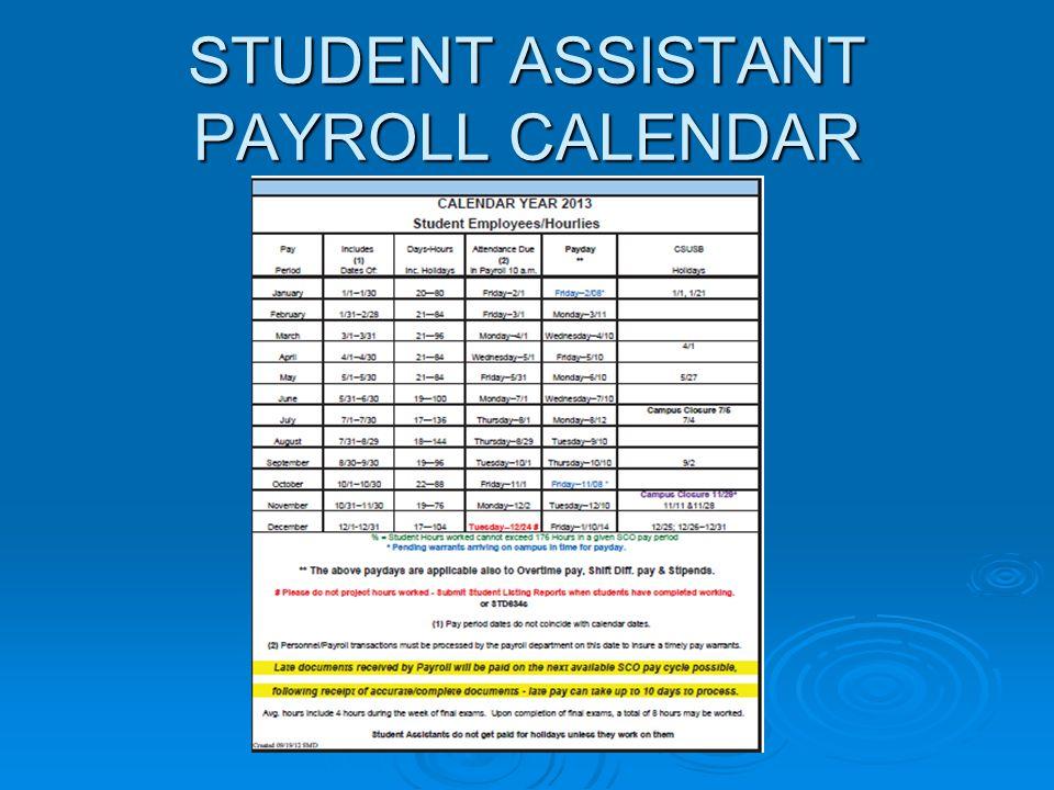 STUDENT ASSISTANT PAYROLL CALENDAR
