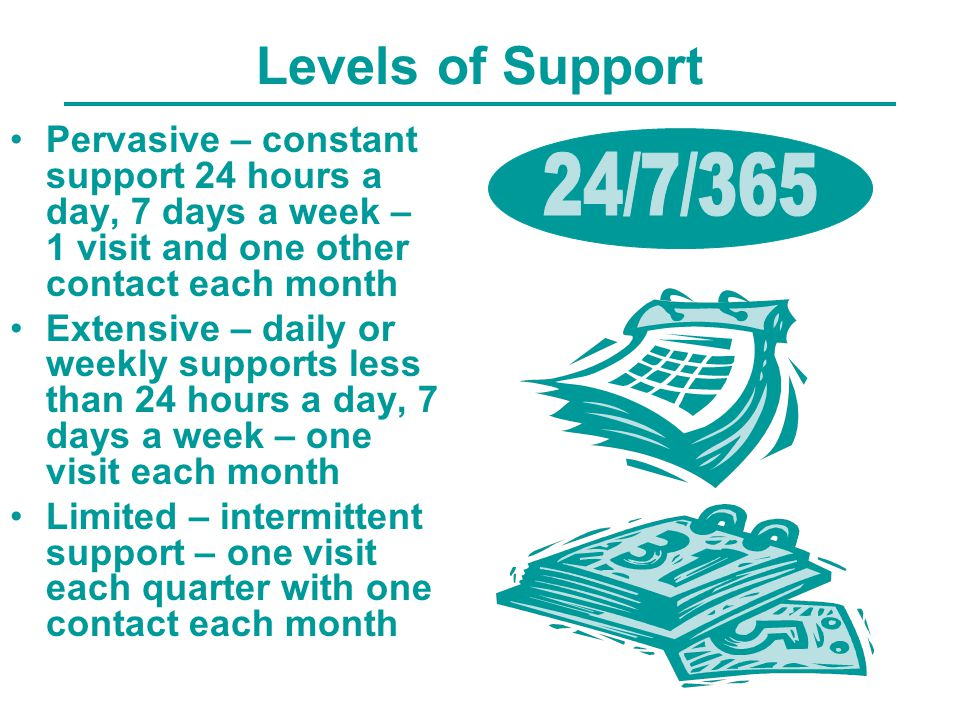 Levels of Support Pervasive – constant support 24 hours a day, 7 days a week – 1 visit and one other contact each month Extensive – daily or weekly supports less than 24 hours a day, 7 days a week – one visit each month Limited – intermittent support – one visit each quarter with one contact each month