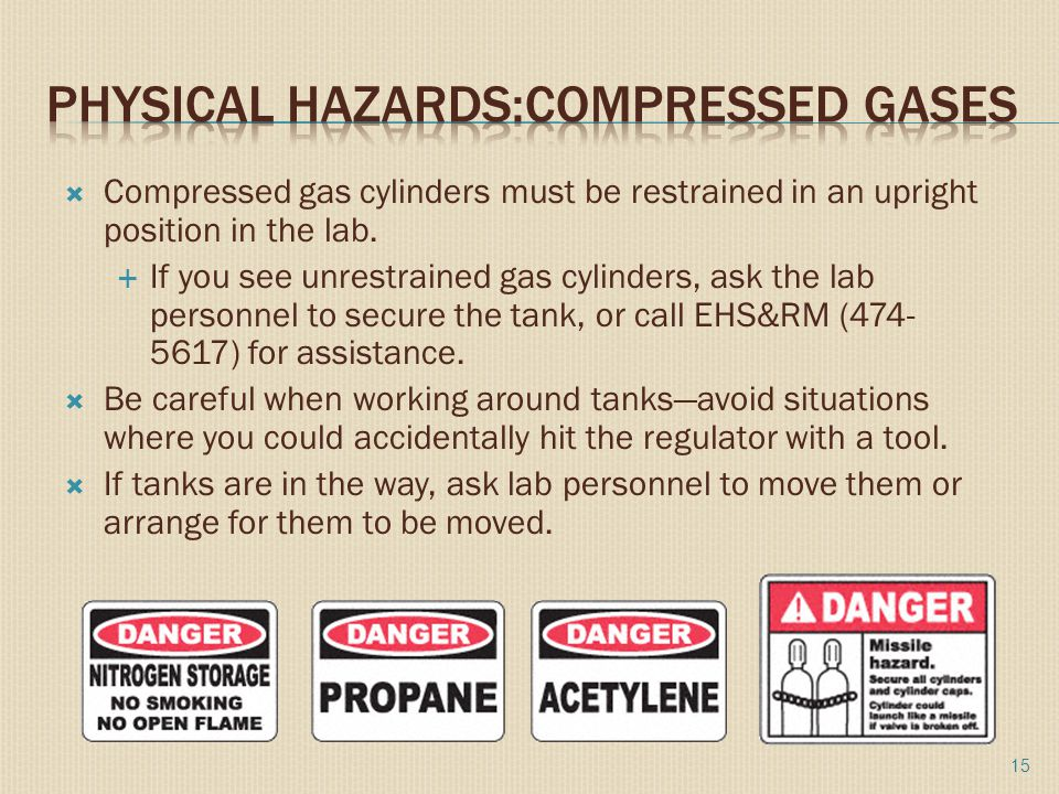  Compressed gas cylinders must be restrained in an upright position in the lab.