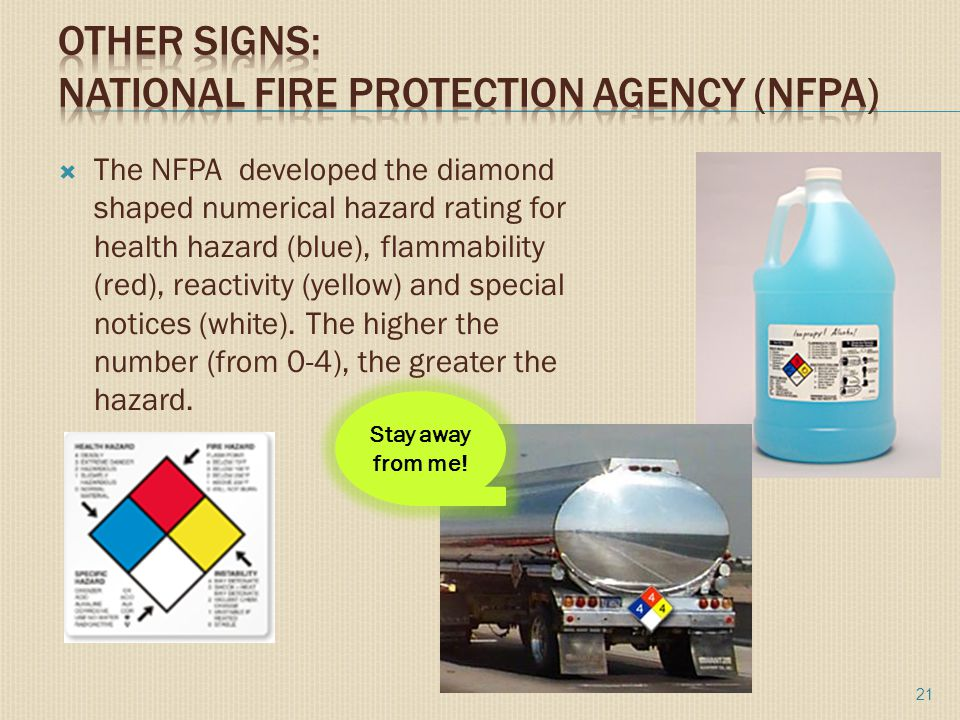  The NFPA developed the diamond shaped numerical hazard rating for health hazard (blue), flammability (red), reactivity (yellow) and special notices (white).