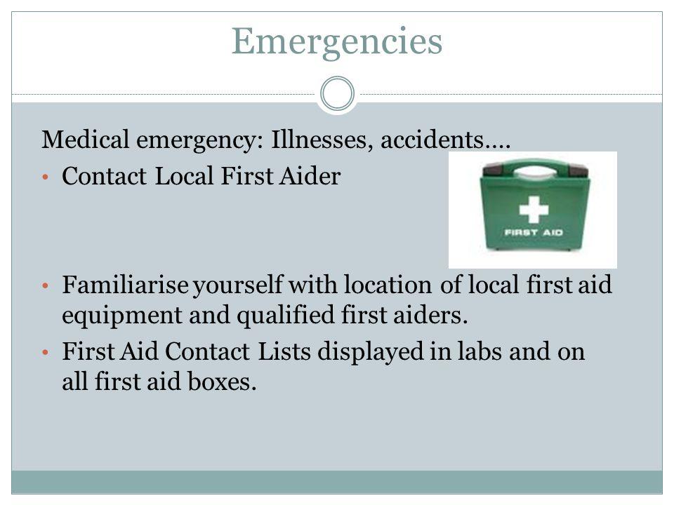 Emergencies Medical emergency: Illnesses, accidents….