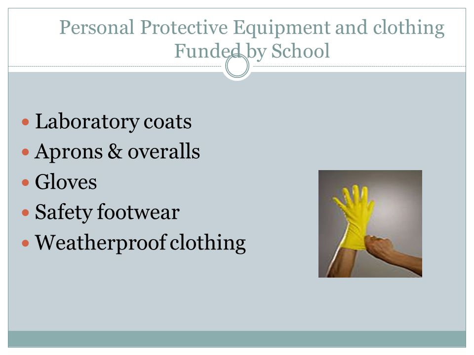 Personal Protective Equipment and clothing Funded by School Laboratory coats Aprons & overalls Gloves Safety footwear Weatherproof clothing