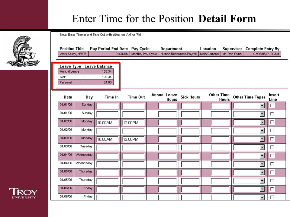 Enter Time for the Position Detail Form