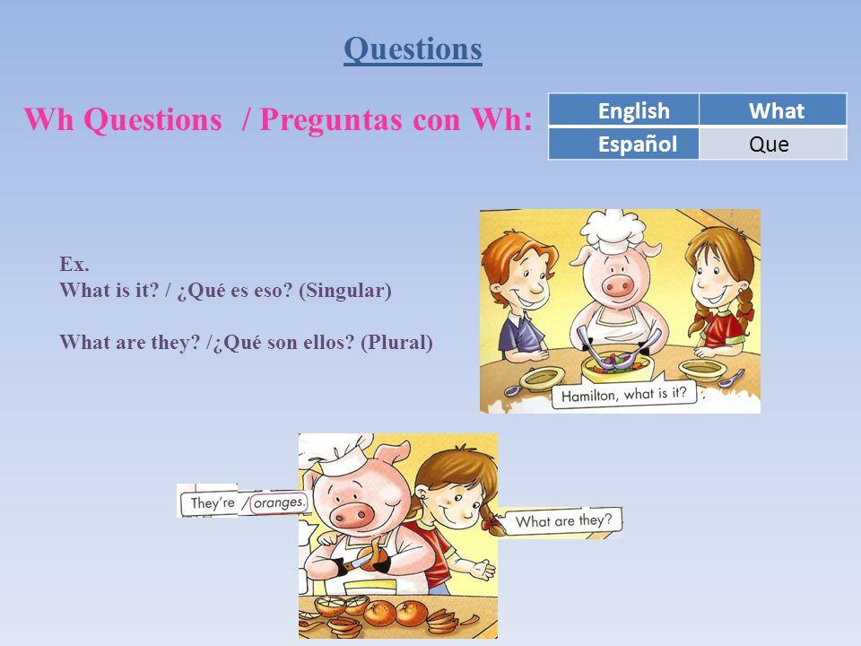 Questions Wh Questions / Preguntas con Wh : EnglishWhat EspañolQue Ex.
