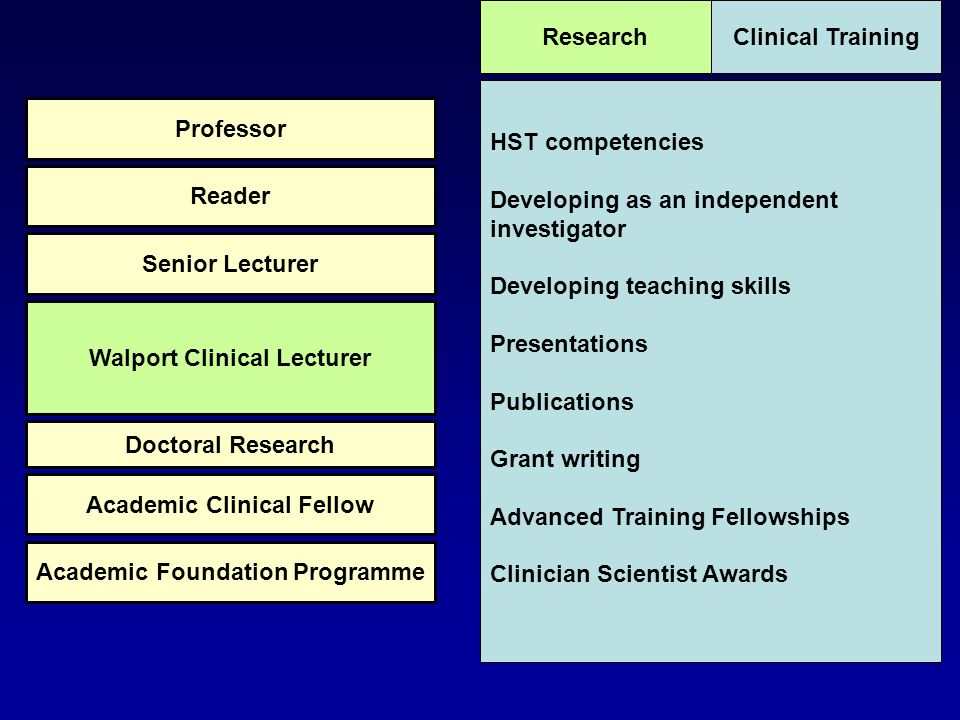 HST competencies Developing as an independent investigator Developing teaching skills Presentations Publications Grant writing Advanced Training Fello