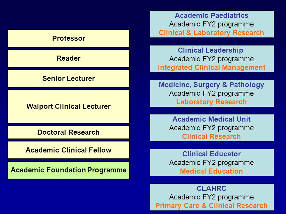 Foundation competencies Develop additional skills laboratory research clinical research teaching management Broaden horizons Presentations Publications Increase competitiveness Academic Foundation Programme Academic Clinical Fellow Doctoral Research Walport Clinical Lecturer Senior Lecturer Reader Professor