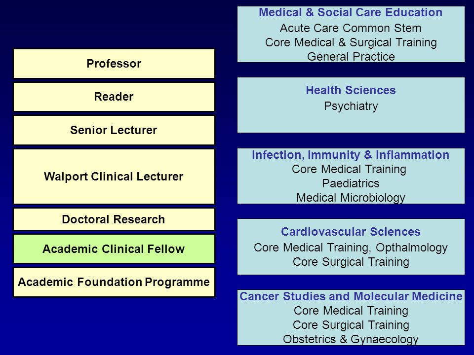 Health Sciences Psychiatry Infection, Immunity & Inflammation Core Medical Training Paediatrics Medical Microbiology Cardiovascular Sciences Core Medical Training, Opthalmology Core Surgical Training Cancer Studies and Molecular Medicine Core Medical Training Core Surgical Training Obstetrics & Gynaecology Medical & Social Care Education Acute Care Common Stem Core Medical & Surgical Training General Practice Academic Foundation Programme Academic Clinical Fellow Doctoral Research Walport Clinical Lecturer Senior Lecturer Reader Professor