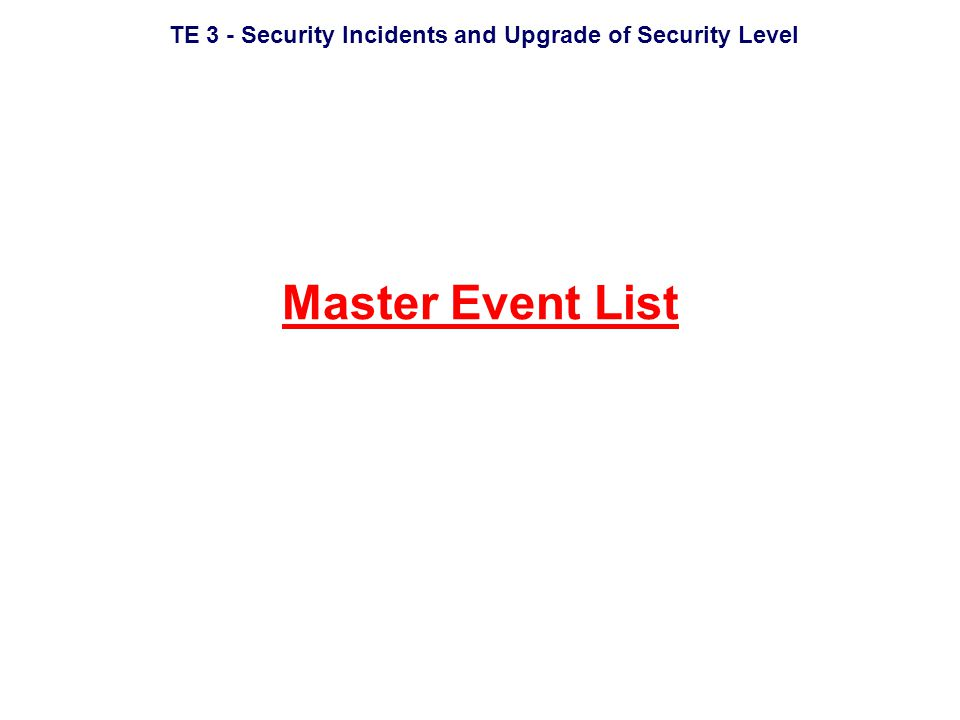 TE 3 - Security Incidents and Upgrade of Security Level Master Event List