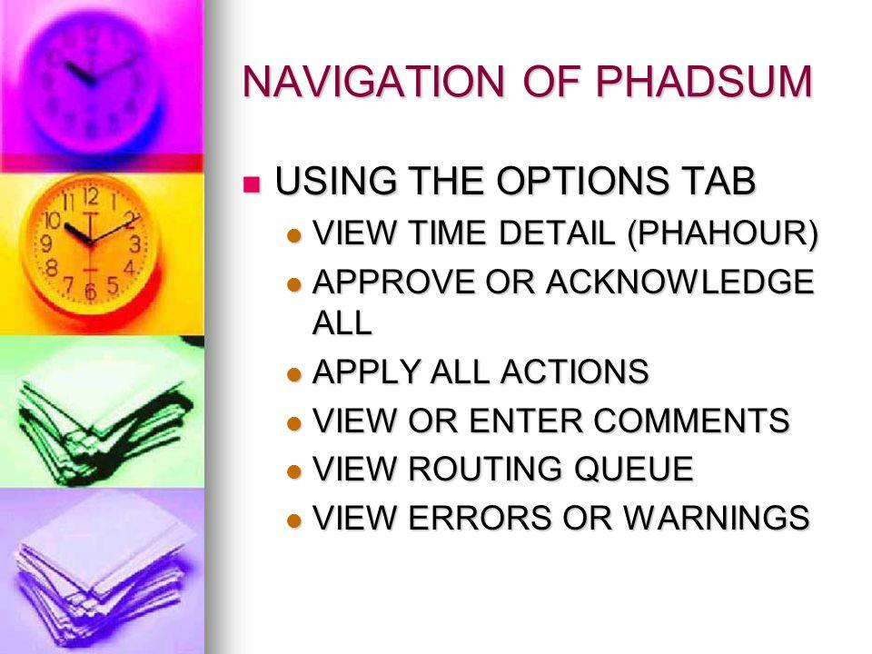 NAVIGATION OF PHADSUM USING THE OPTIONS TAB USING THE OPTIONS TAB VIEW TIME DETAIL (PHAHOUR) VIEW TIME DETAIL (PHAHOUR) APPROVE OR ACKNOWLEDGE ALL APPROVE OR ACKNOWLEDGE ALL APPLY ALL ACTIONS APPLY ALL ACTIONS VIEW OR ENTER COMMENTS VIEW OR ENTER COMMENTS VIEW ROUTING QUEUE VIEW ROUTING QUEUE VIEW ERRORS OR WARNINGS VIEW ERRORS OR WARNINGS