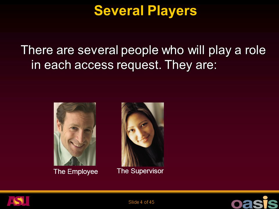 Slide 4 of 45 Several Players There are several people who will play a role in each access request. They are: The Supervisor The Employee