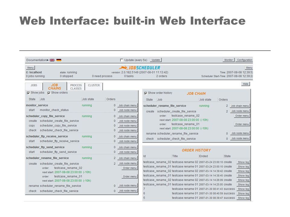 Web Interface: built-in Web Interface