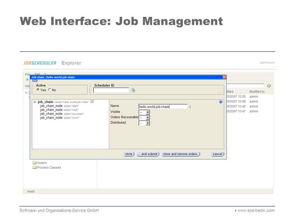 Web Interface: Job Management Software- und Organisations-Service GmbH  www.sos-berlin.com