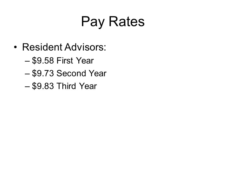 Pay Rates Resident Advisors: –$9.58 First Year –$9.73 Second Year –$9.83 Third Year