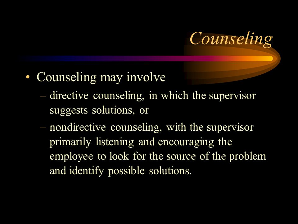 The Counseling Interview The next step is consideration of possible solutions and the selection of one to try.