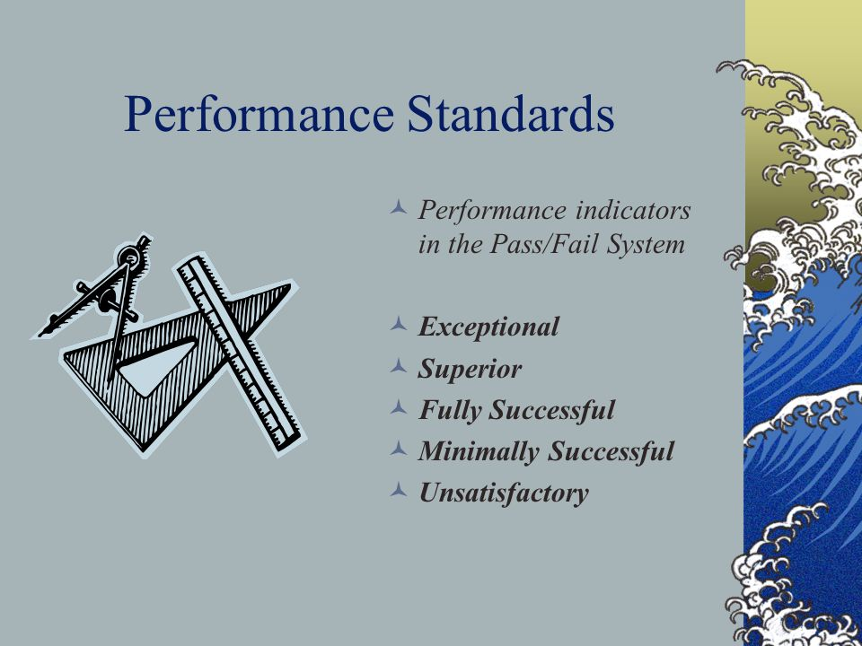 Performance Standards Performance indicators in the Pass/Fail System Exceptional Superior Fully Successful Minimally Successful Unsatisfactory