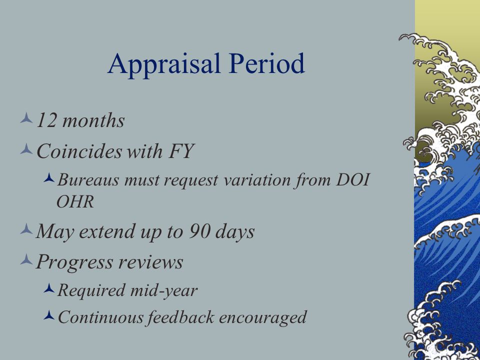 Appraisal Period 12 months Coincides with FY Bureaus must request variation from DOI OHR May extend up to 90 days Progress reviews Required mid-year Continuous feedback encouraged