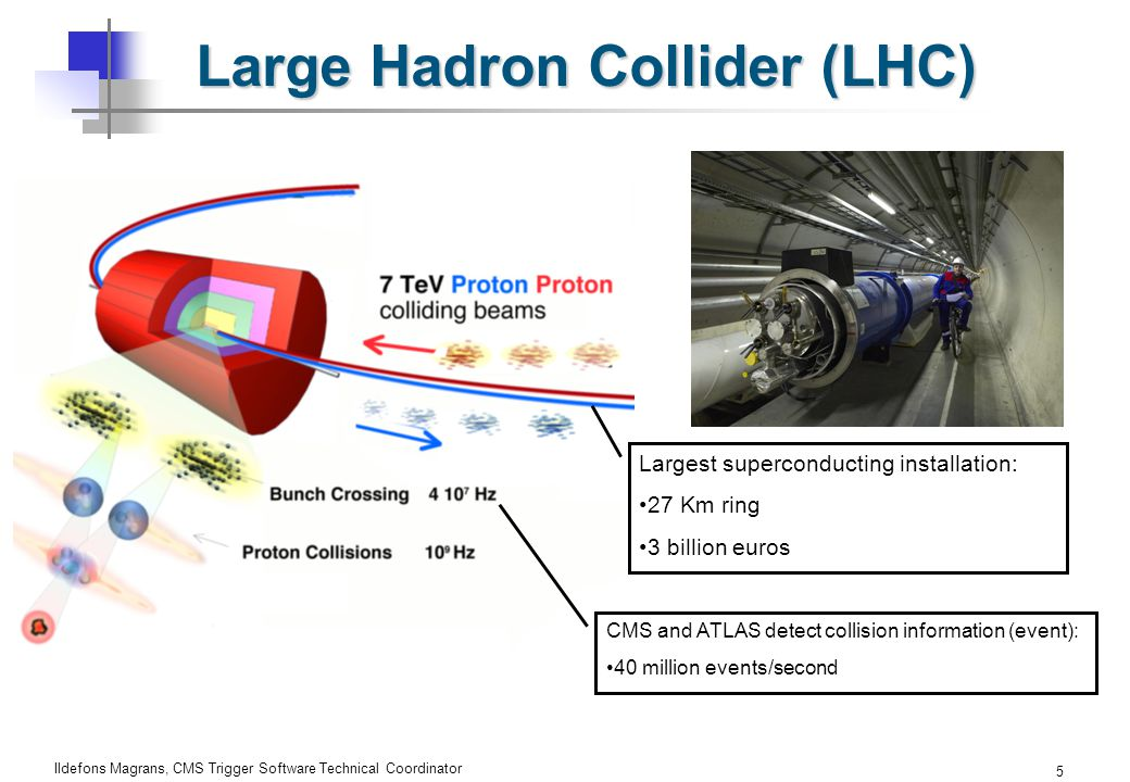 Ildefons Magrans, CMS Trigger Software Technical Coordinator 5 Large Hadron Collider (LHC) Largest superconducting installation: 27 Km ring 3 billion euros CMS and ATLAS detect collision information (event): 40 million events/second