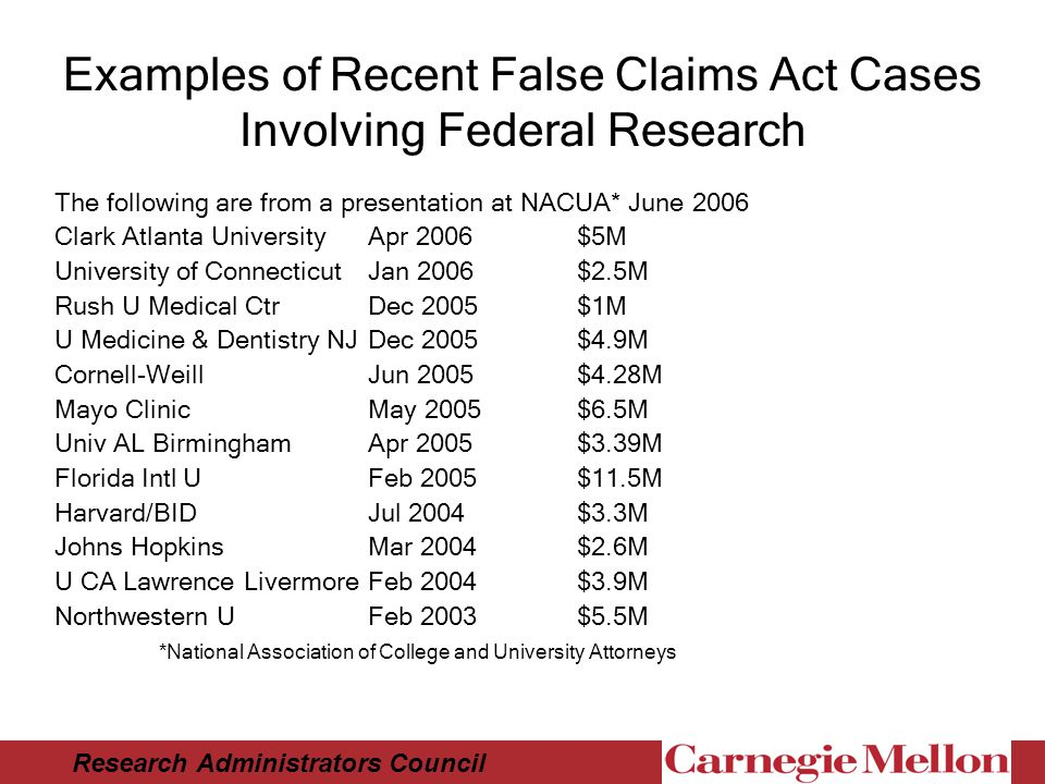 Research Administrators Council Examples of Recent False Claims Act Cases Involving Federal Research The following are from a presentation at NACUA* June 2006 Clark Atlanta UniversityApr 2006 $5M University of Connecticut Jan 2006 $2.5M Rush U Medical CtrDec 2005$1M U Medicine & Dentistry NJDec 2005 $4.9M Cornell-WeillJun 2005$4.28M Mayo ClinicMay 2005$6.5M Univ AL BirminghamApr 2005$3.39M Florida Intl UFeb 2005$11.5M Harvard/BIDJul 2004$3.3M Johns HopkinsMar 2004$2.6M U CA Lawrence LivermoreFeb 2004$3.9M Northwestern UFeb 2003$5.5M *National Association of College and University Attorneys