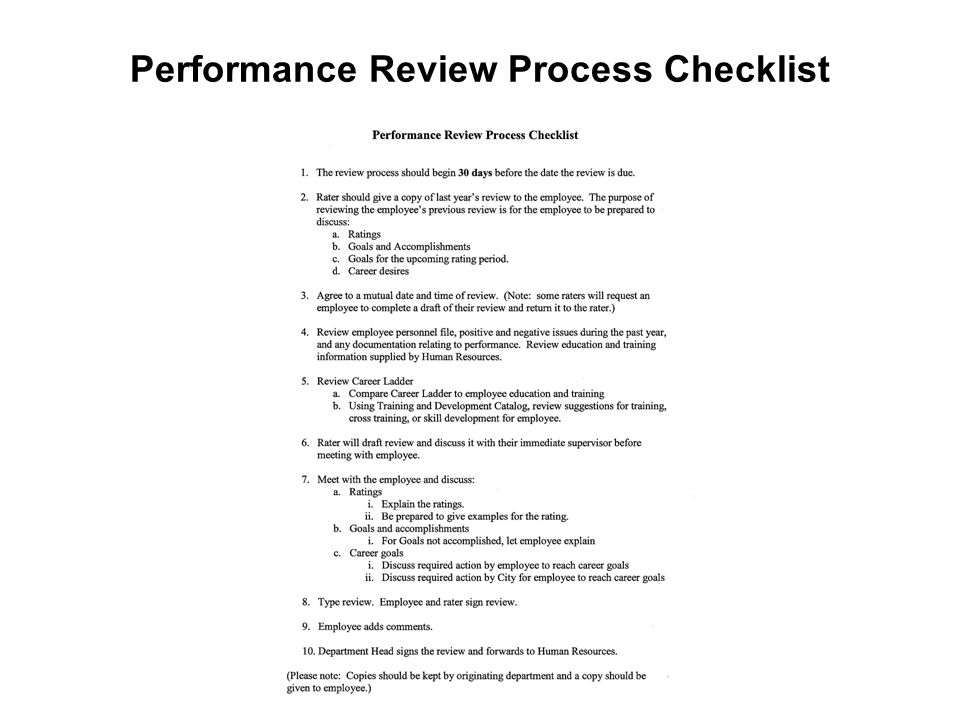 Performance Review Process Checklist