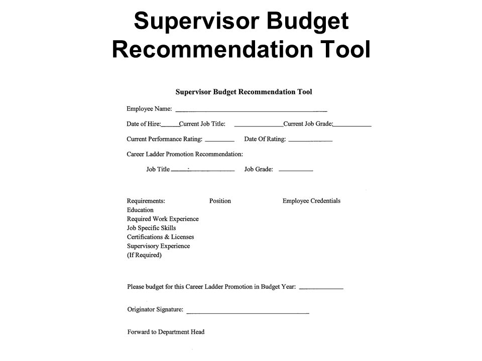 Supervisor Budget Recommendation Tool