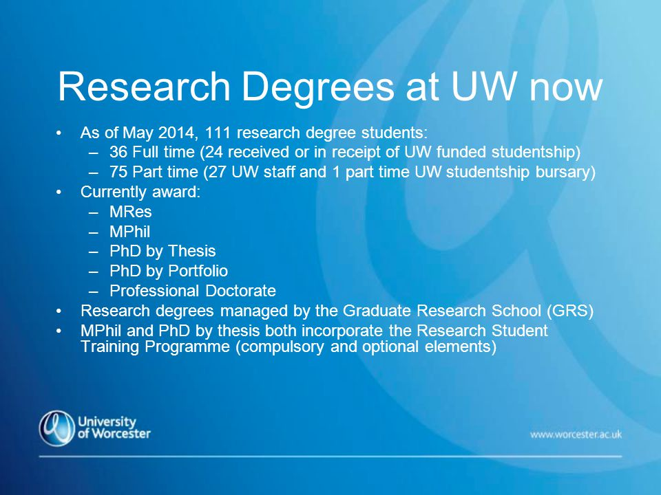 Research Degrees at UW now As of May 2014, 111 research degree students: –36 Full time (24 received or in receipt of UW funded studentship) –75 Part time (27 UW staff and 1 part time UW studentship bursary) Currently award: –MRes –MPhil –PhD by Thesis –PhD by Portfolio –Professional Doctorate Research degrees managed by the Graduate Research School (GRS) MPhil and PhD by thesis both incorporate the Research Student Training Programme (compulsory and optional elements)