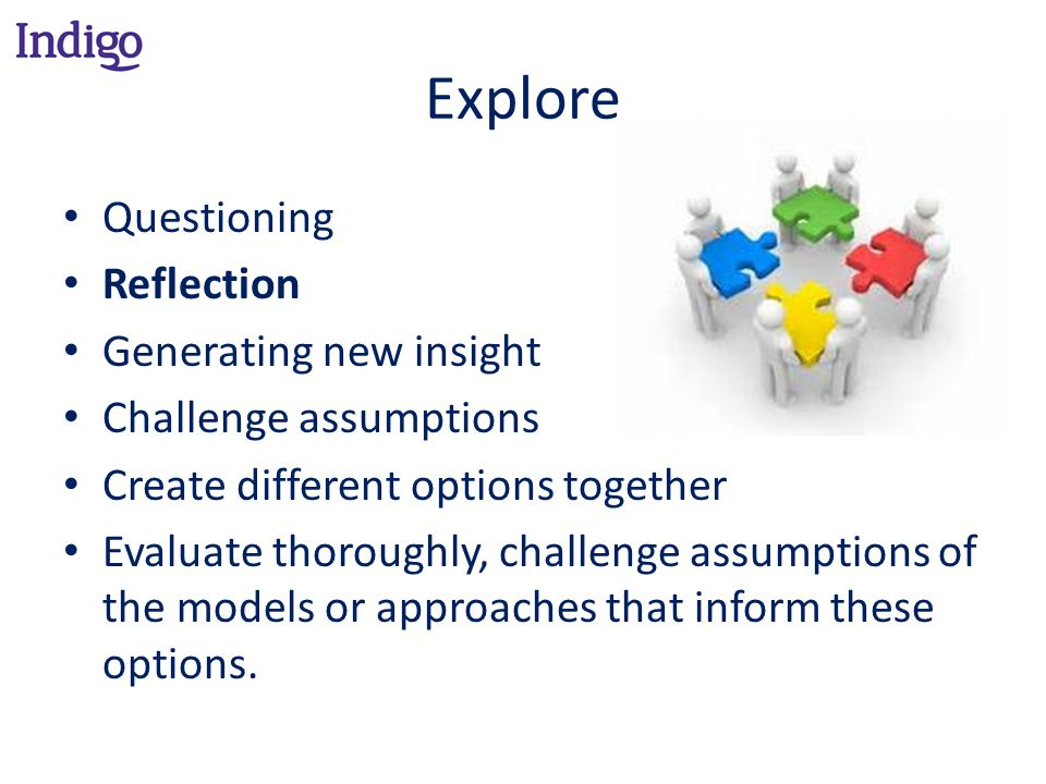 Explore Questioning Reflection Generating new insight Challenge assumptions Create different options together Evaluate thoroughly, challenge assumptions of the models or approaches that inform these options.