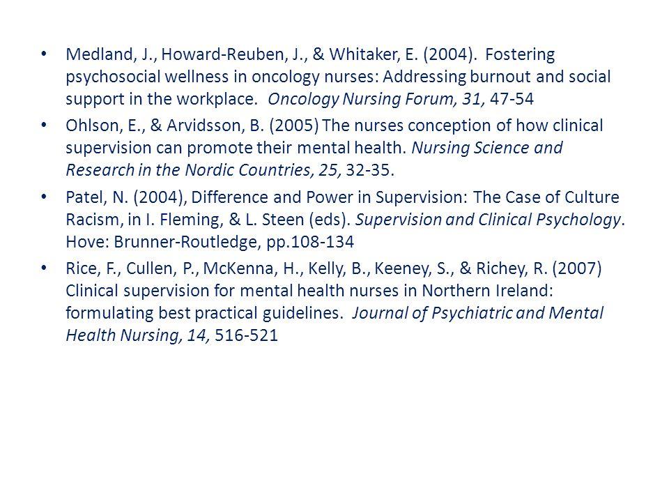 Medland, J., Howard-Reuben, J., & Whitaker, E.(2004).