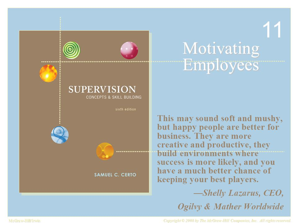 McGraw-Hill/Irwin Copyright © 2008 by The McGraw-Hill Companies, Inc. All rights reserved. Motivating Employees This may sound soft and mushy, but hap