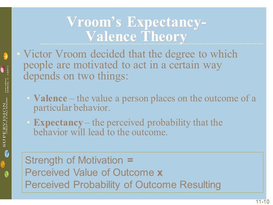 11-10 Vroom's Expectancy- Valence Theory Victor Vroom decided that the degree to which people are motivated to act in a certain way depends on two thi