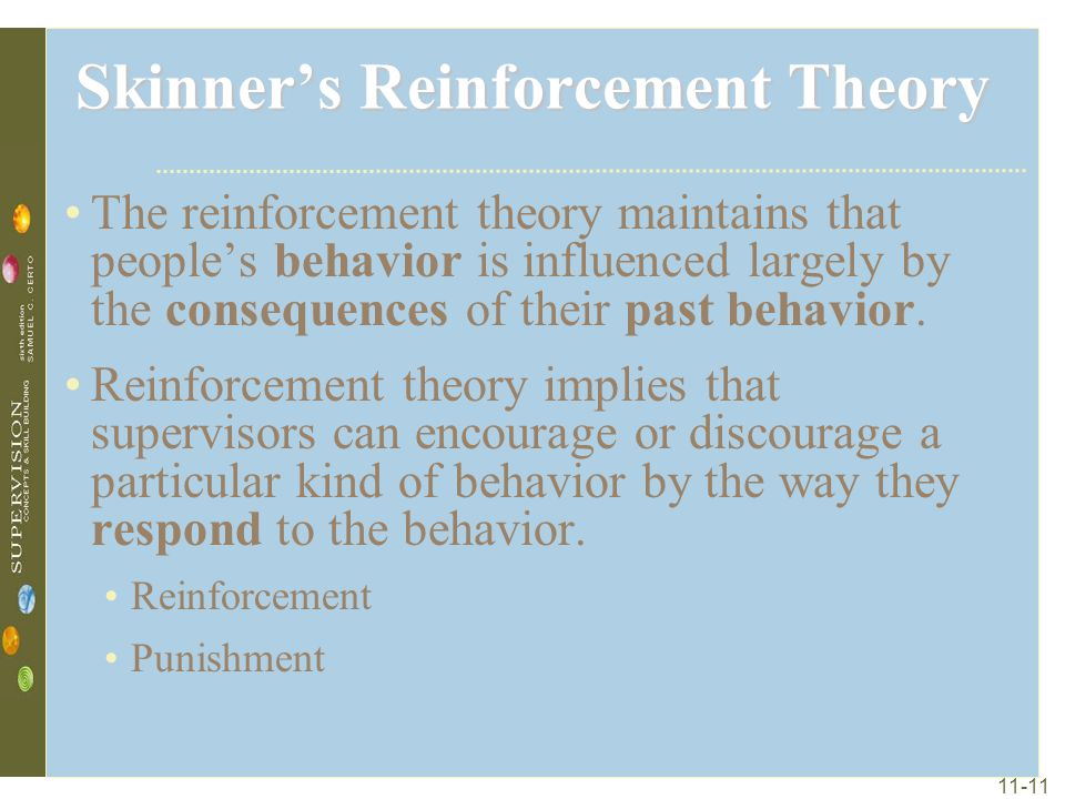 11-11 Skinner's Reinforcement Theory The reinforcement theory maintains that people's behavior is influenced largely by the consequences of their past