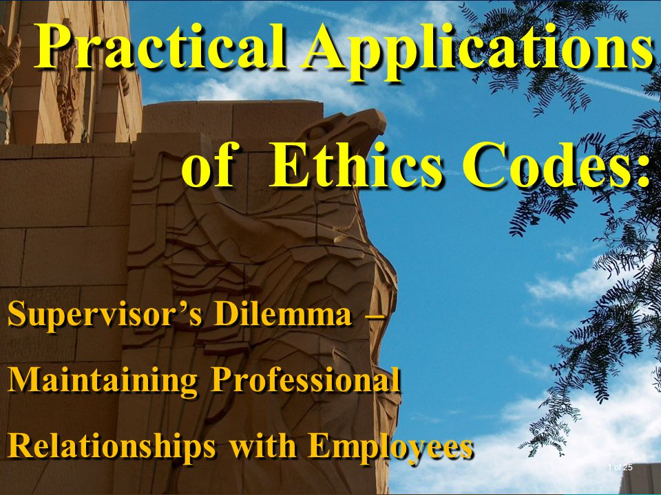 Practical Applications of Ethics Codes: Supervisor's Dilemma – Maintaining Professional Relationships with Employees 1 of 25