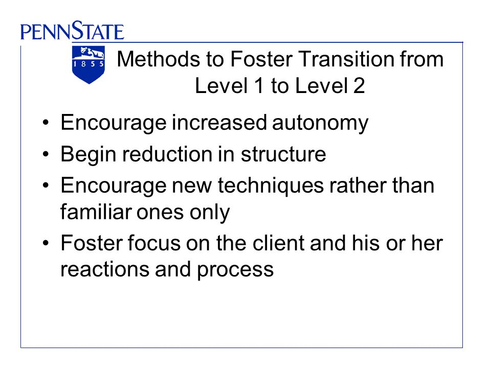 Methods to Foster Transition from Level 1 to Level 2 Encourage increased autonomy Begin reduction in structure Encourage new techniques rather than familiar ones only Foster focus on the client and his or her reactions and process