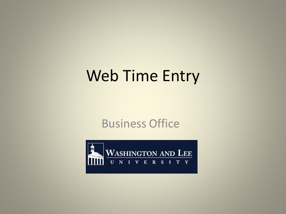 Web Time Entry Business Office