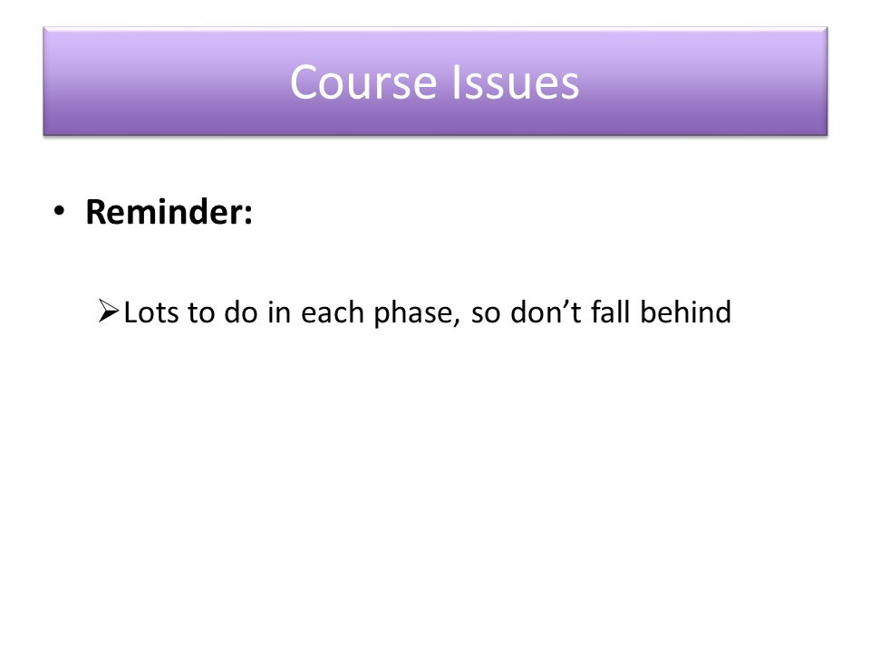 Course Issues Reminder:  Lots to do in each phase, so don't fall behind