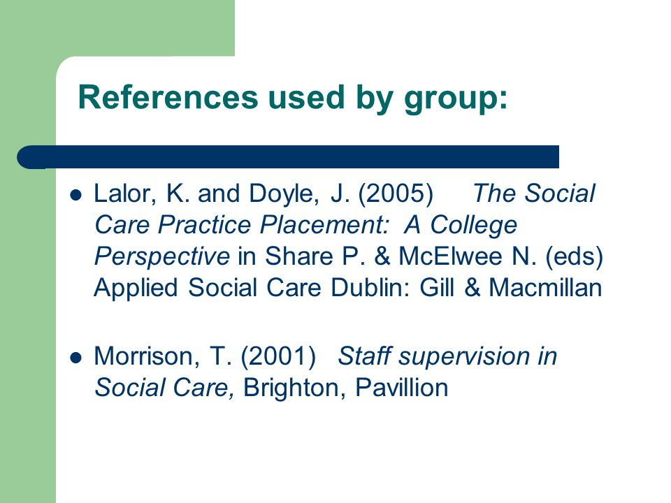 References used by group: Lalor, K. and Doyle, J.
