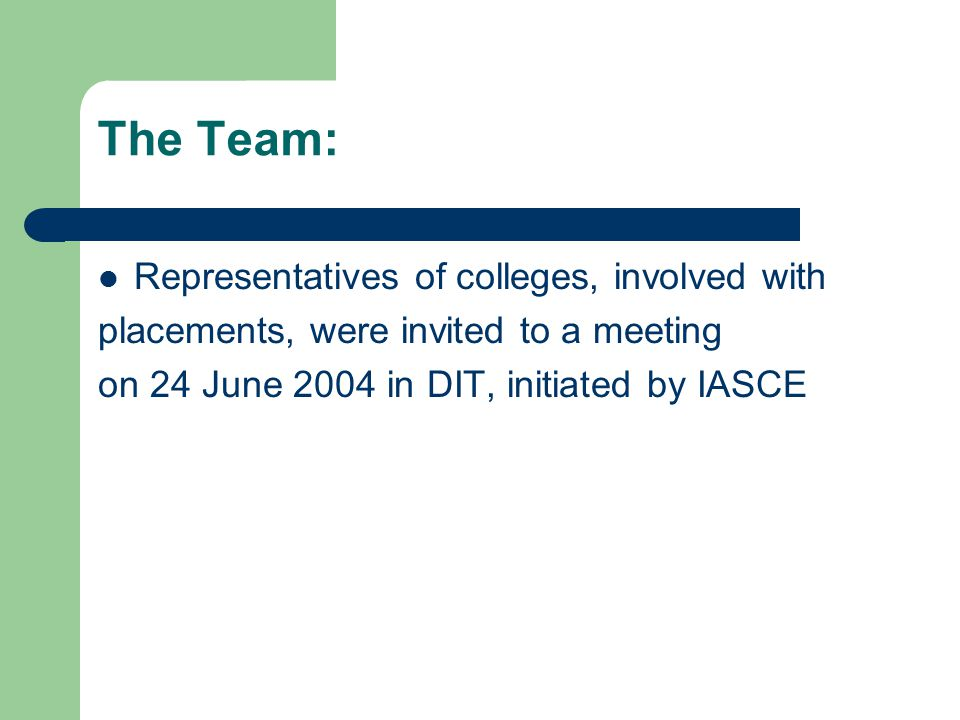 The Team: Representatives of colleges, involved with placements, were invited to a meeting on 24 June 2004 in DIT, initiated by IASCE