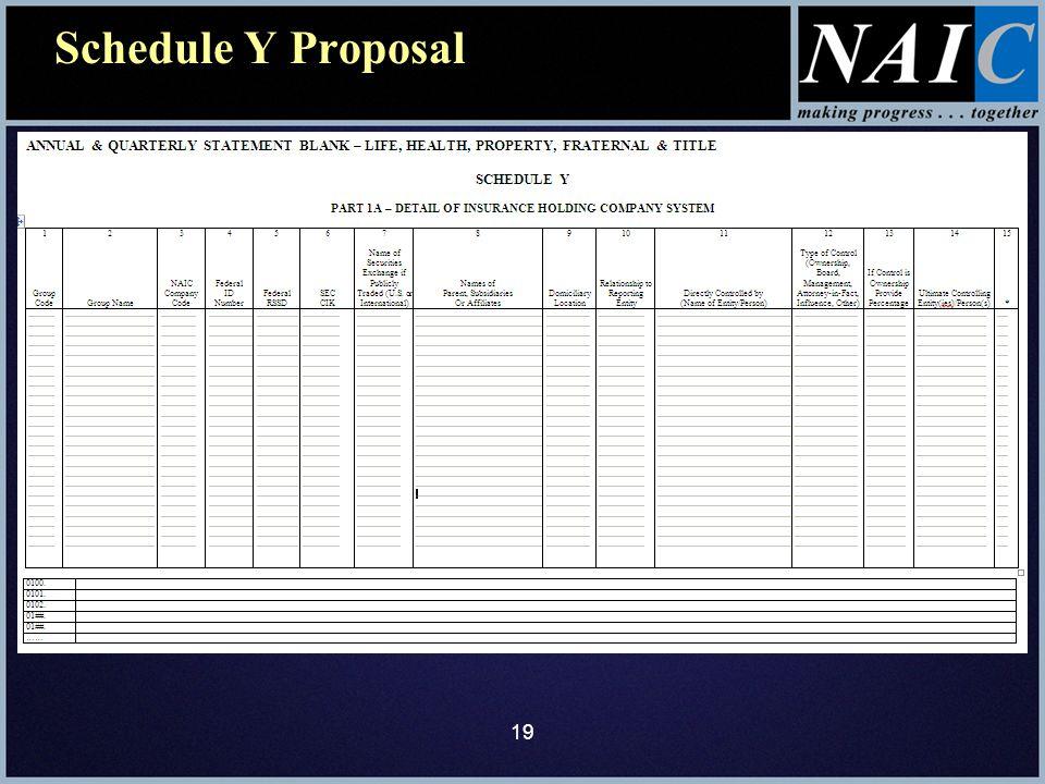 Schedule Y Proposal 19